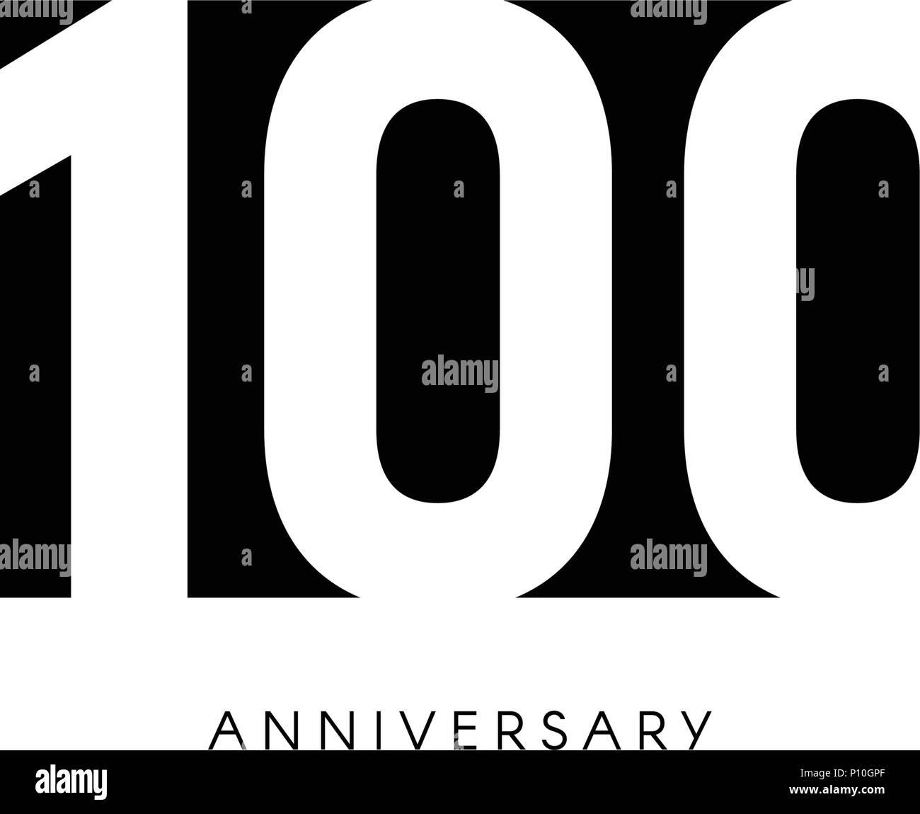 Une Centaine D Anniversaire Logo Minimaliste 100ans 100eme Jubile Carte De Vœux Invitation D Anniversaire 100 Ans Signe Illustration Vecteur De L Espace Negatif Noir Sur Fond Blanc Image Vectorielle Stock Alamy