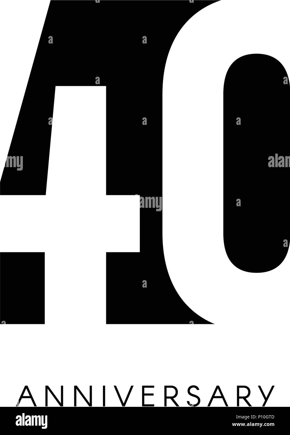 Quarante Ans Logo Minimaliste 40ans 40eme Jubile Carte De Vœux Invitation D Anniversaire 40 Ans Signe Illustration Vecteur De L Espace Negatif Noir Sur Fond Blanc Image Vectorielle Stock Alamy