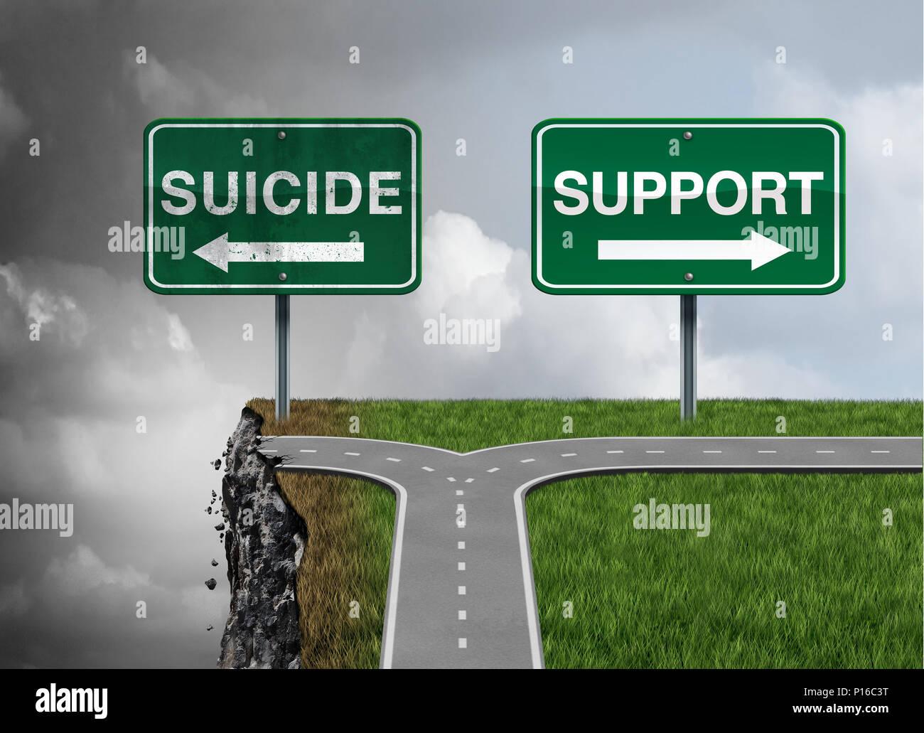 Le suicide et le soutien ou la dépression sévère risque de désespoir comme une maladie mentale santé thérapie concept comme une solution permanente. Photo Stock