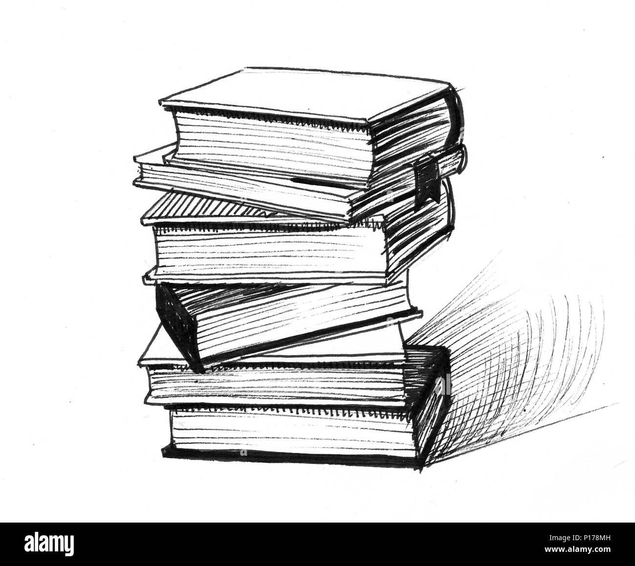 Pile De Livres Illustration Noir Et Blanc Encre Banque D