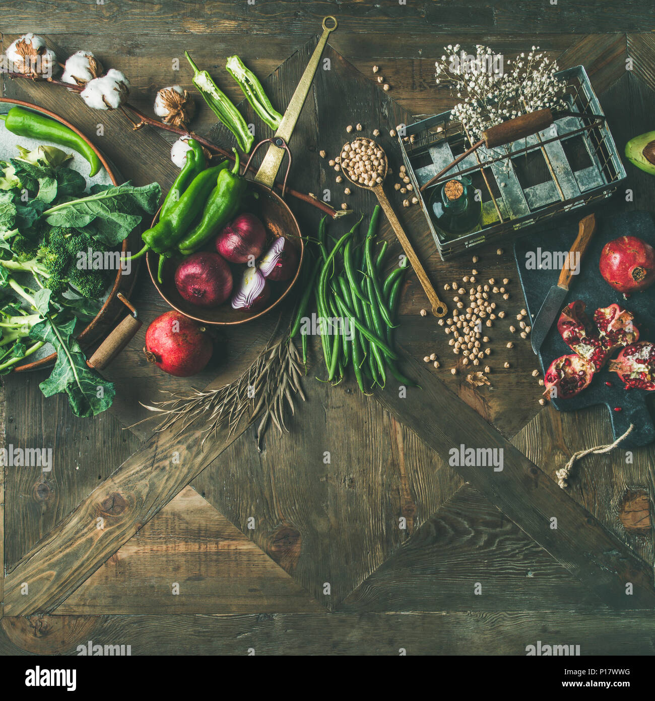 L'hiver l'alimentation végétarienne ou végétalienne ingrédients de cuisine Photo Stock
