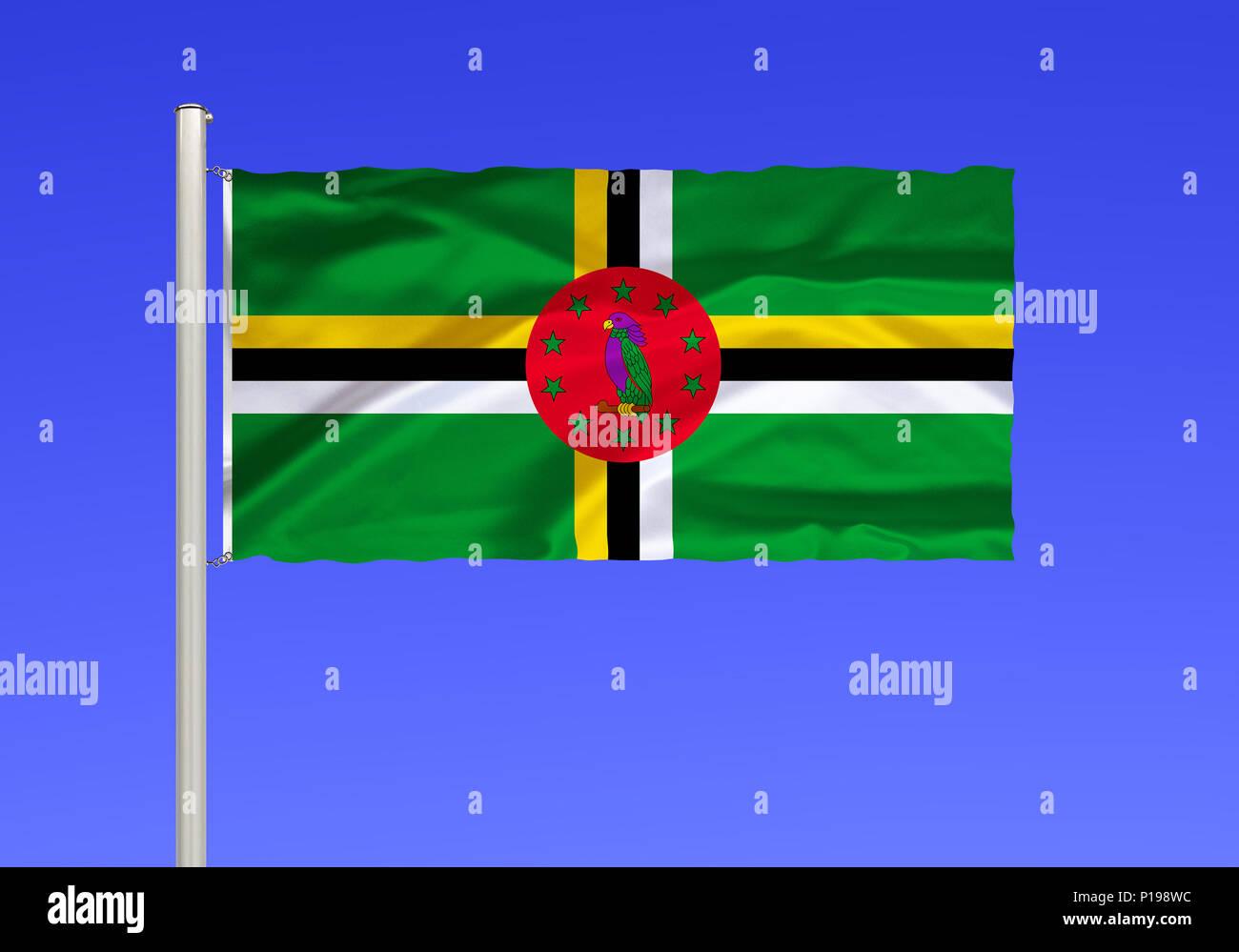 Pavillon de la Dominique, pays insulaire, Petites Antilles, des Caraïbes, de l'Est , Flagge von Dominique, Inselstaat, Kleine Antillen, oestliche Karibik, Banque D'Images