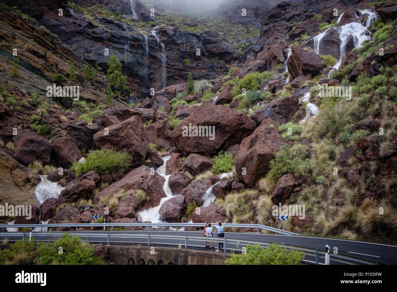 Après de fortes pluies, les cours d'eau gonflés Charco Azul, Gran Canaria, Îles Canaries, Espagne Banque D'Images