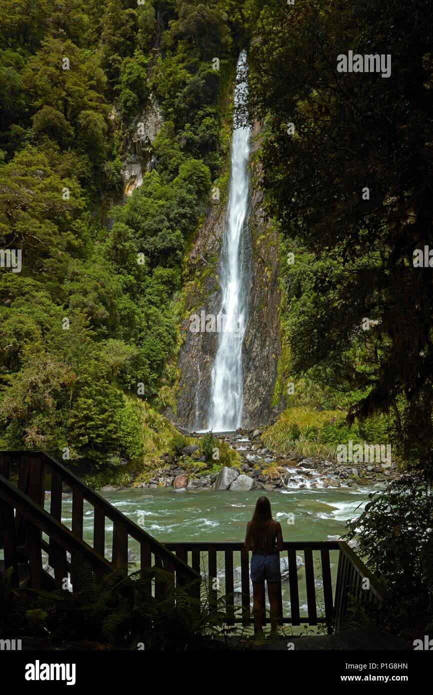 Touriste, Thunder Creek Falls & Haast River, Haast Pass, Mt aspirant National Park, côte ouest, île du Sud, Nouvelle-Zélande (Modèle 1992) Photo Stock