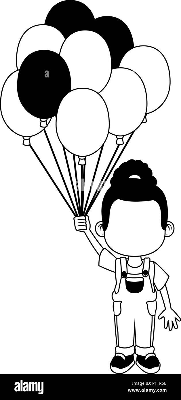 Cute Girl Et Des Ballons Dessins Animés En Noir Et Blanc Vecteurs Et