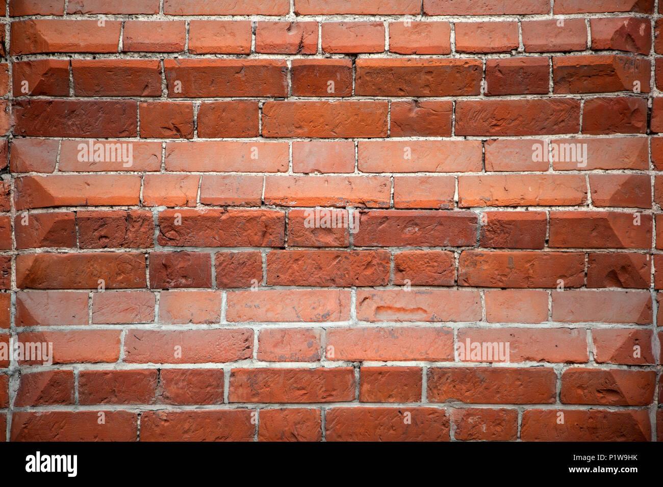 Mur De Brique Rouge Avec Bandes De Couleurs Differentes La