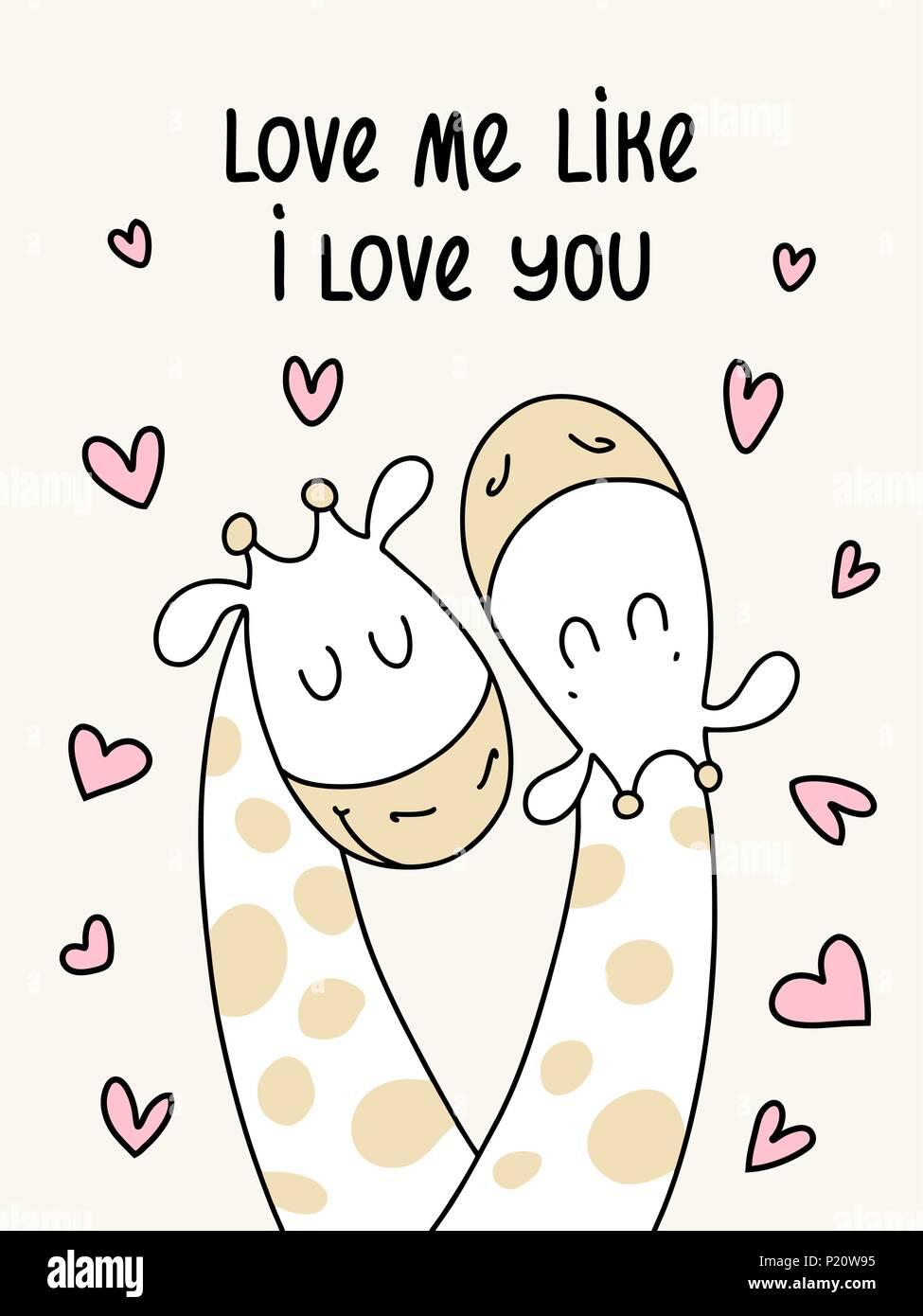 Deux girafes télévision mignon. M'aimer comme je t'aime vector cartoon illustration poster Illustration de Vecteur