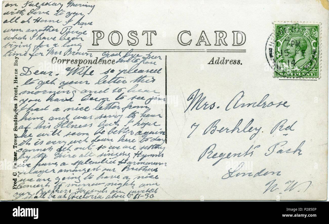 Carte Postale De Marche Arrire 15 Fvrier 1914 Montrant Le Cachet Lhtel Hampton