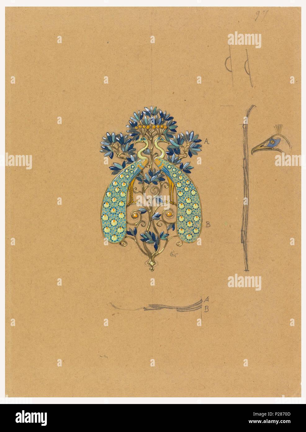 c02b83a0121b . Anglais   Dessin, Design pour qu une boucle de ceinture avec Motif Paon,  1900 . Anglais   conception utilise le double profil paons de part et  d arbres ...
