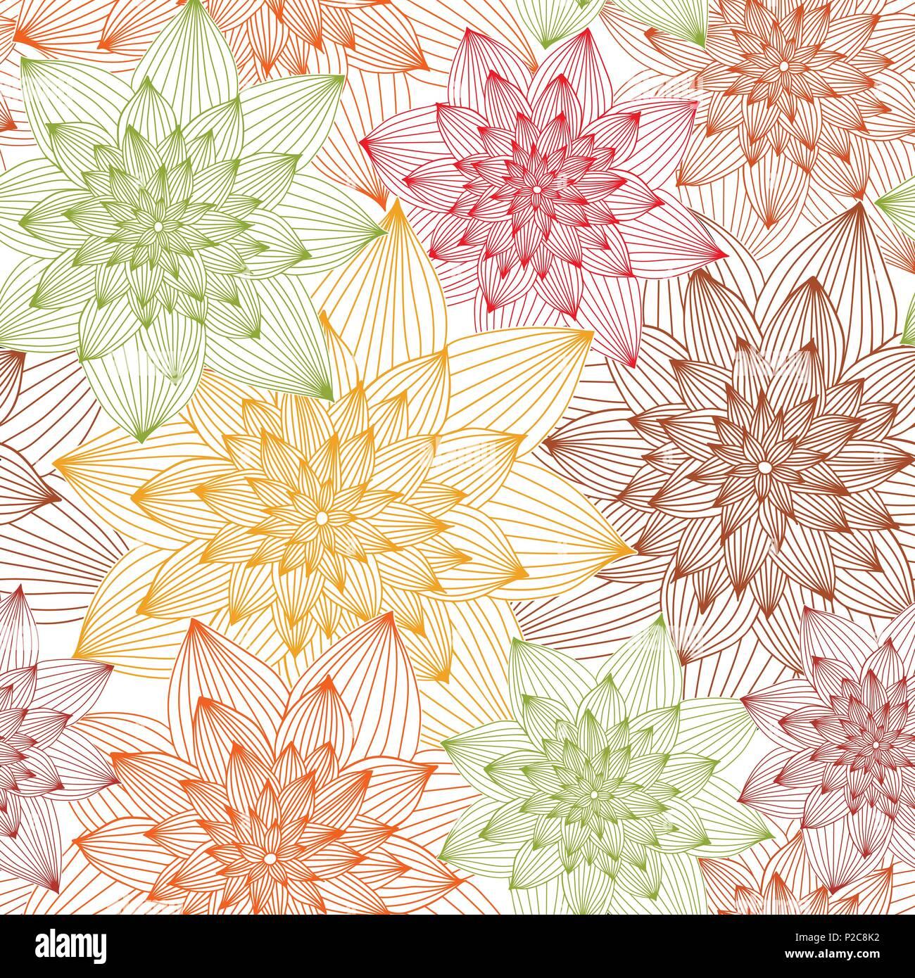 Abstract floral vectoriel continu des couleurs chaudes Vecteurs Et ...