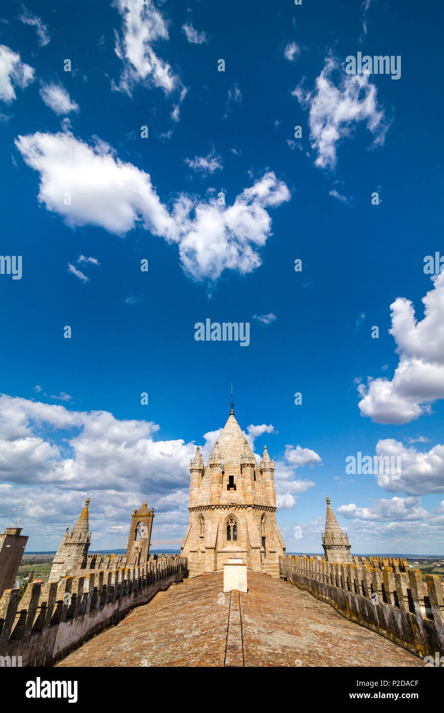 Vue du toit de la cathédrale, Evora, Alentejo, Portugal Photo Stock