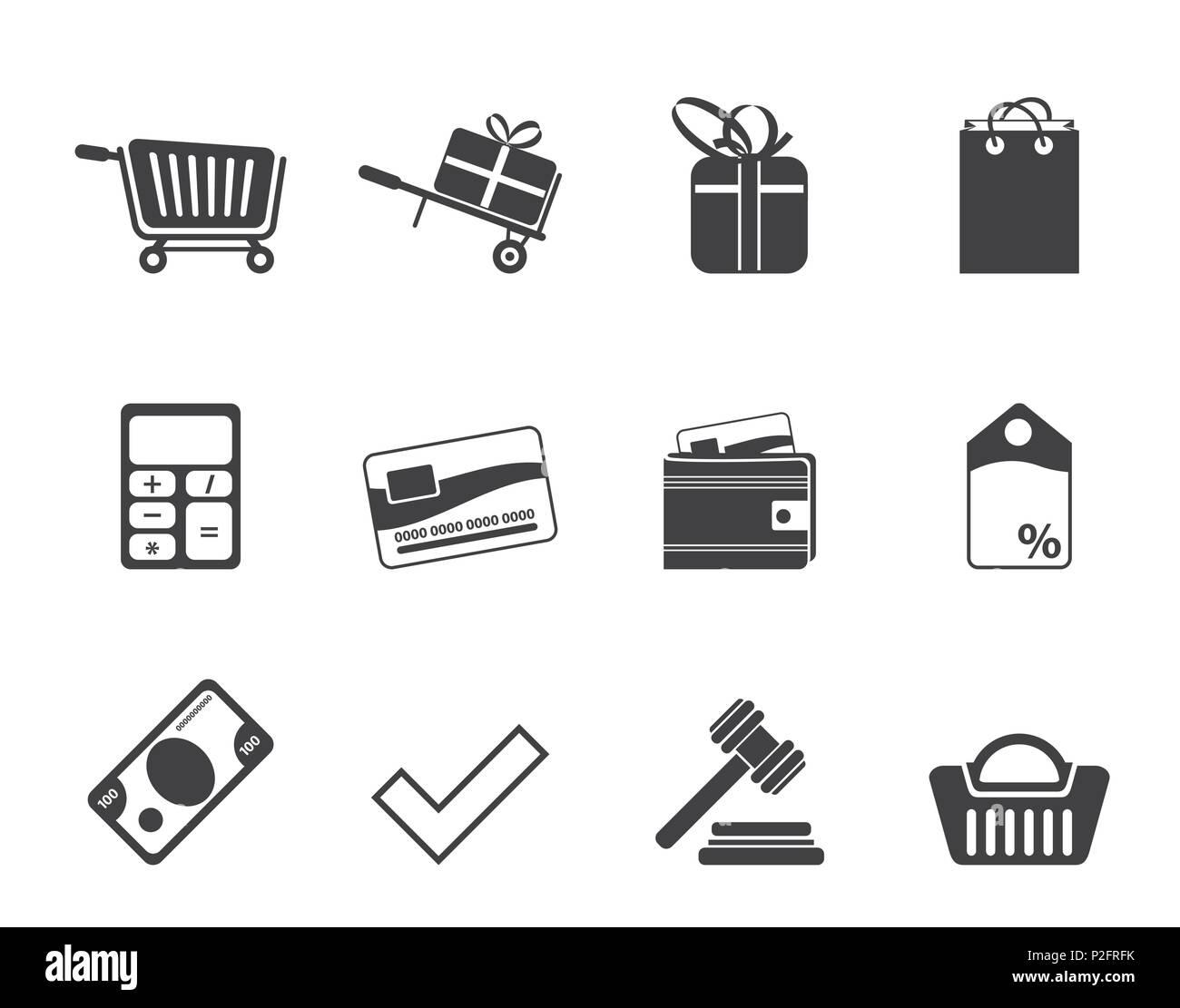 Boutique en ligne Silhouette vector icon set - icônes Photo Stock