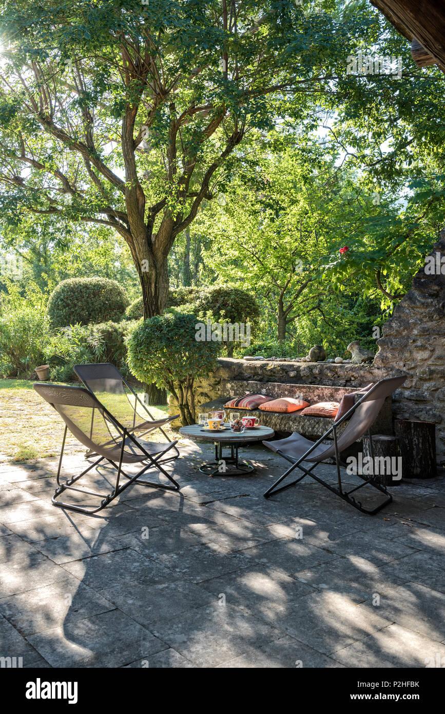 longues une à arbre Des table l'ombre en et chaises d'un eBCxrdo