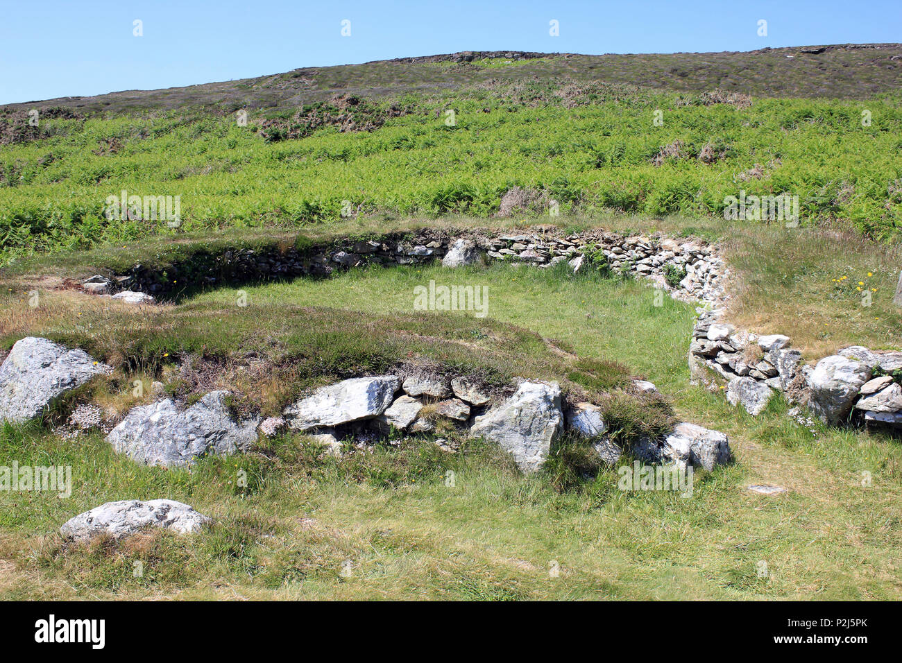 Ty Mawr Cercles cabane en pierre, Holyhead mountain, Anglesey Photo Stock