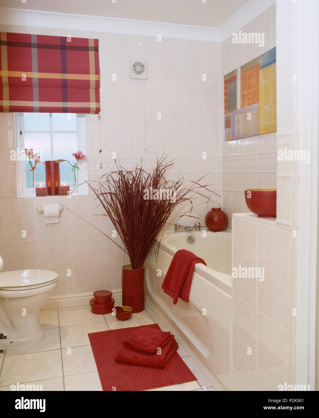 Salle De Bain Rouge Blanc arrangement des brindilles rouge à côté de baignoire en
