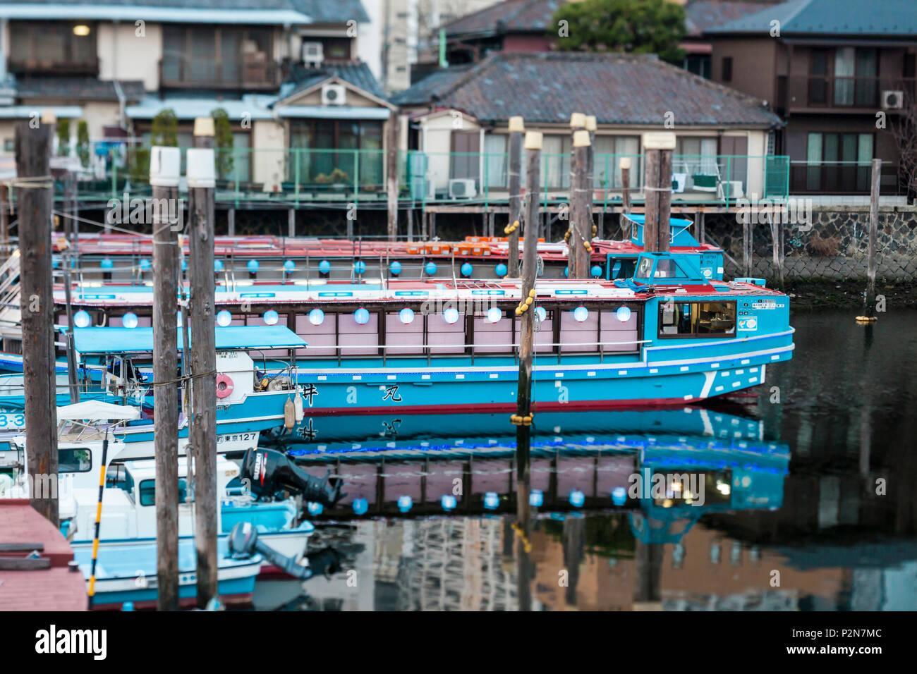 Les bateaux nostalgique avec des lanternes dans Kita-Shinagawa, Shinagawa, Tokyo, Japon Photo Stock