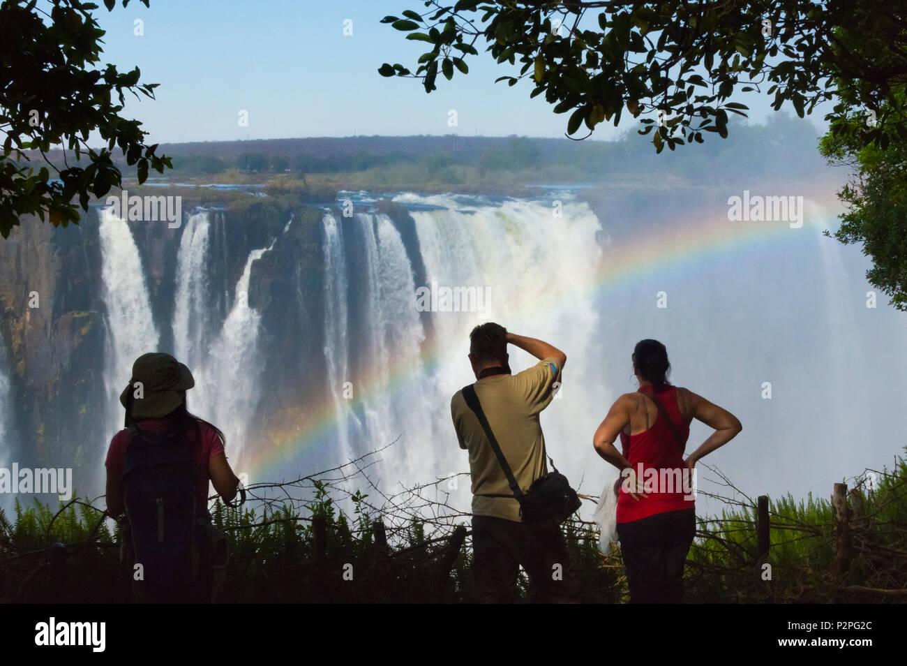 Les touristes photographiant Victoria Falls, Zimbabwe Photo Stock