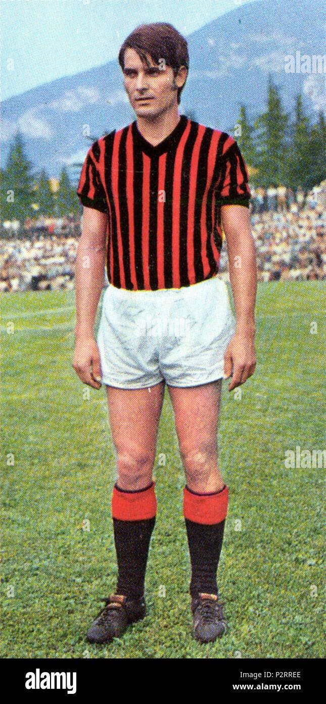 . Italiano: Il calciatore italiano Giorgio Biasiolo al Milan nella stagione 1970-71. vers 1970. Inconnu 34 Giorgio Biasiolo - Milan AC 1970-1971 Photo Stock