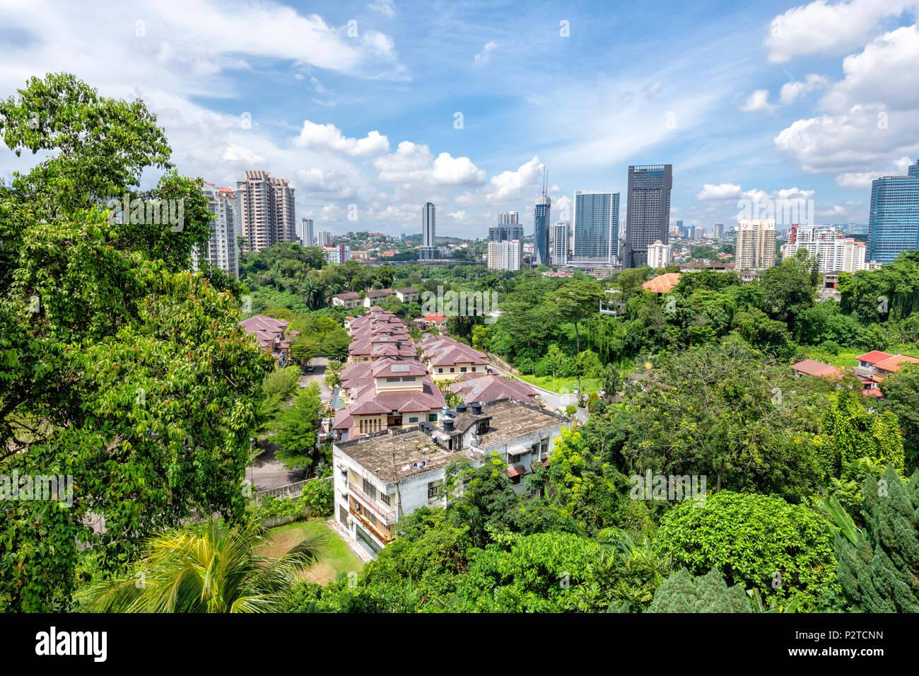 Vue depuis le temple Thean Hou dans le centre ville de Kuala Lumpur, Malaisie Photo Stock