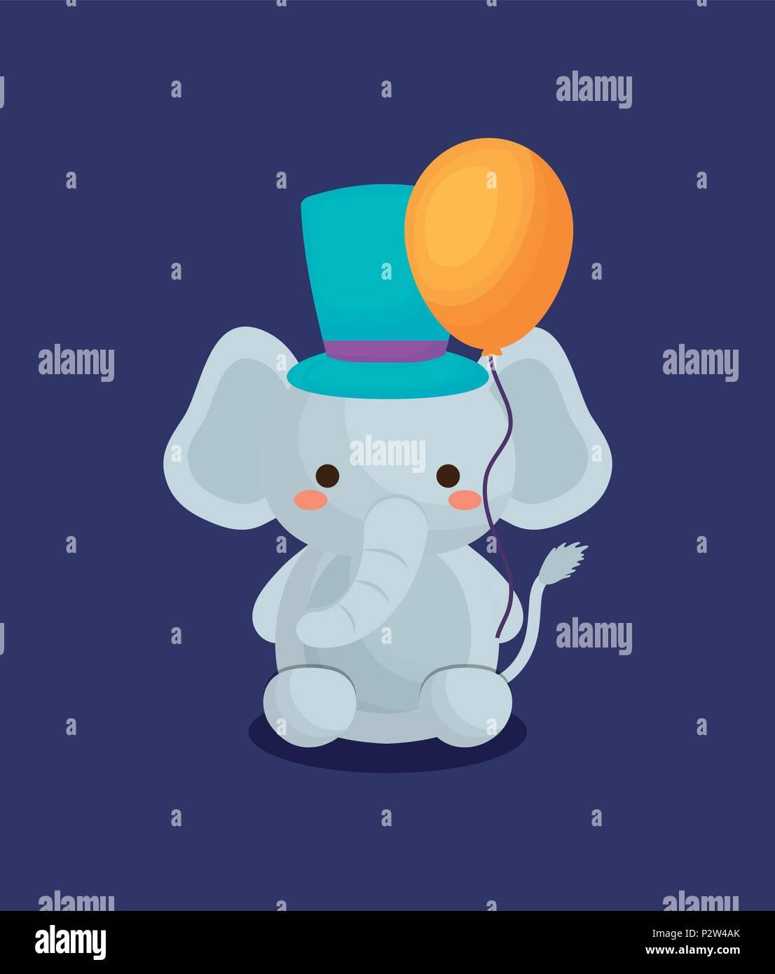 La conception du cirque carnaval avec l'éléphant mignon avec top hat et ballon sur fond violet, design coloré. vector illustration Illustration de Vecteur