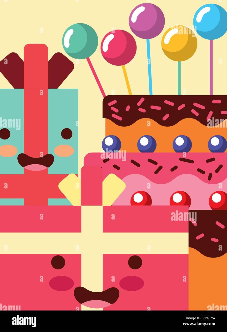 Cadeaux Kawaii Cartoon Gateau Sucre Decoration Bulles Happy Birthday