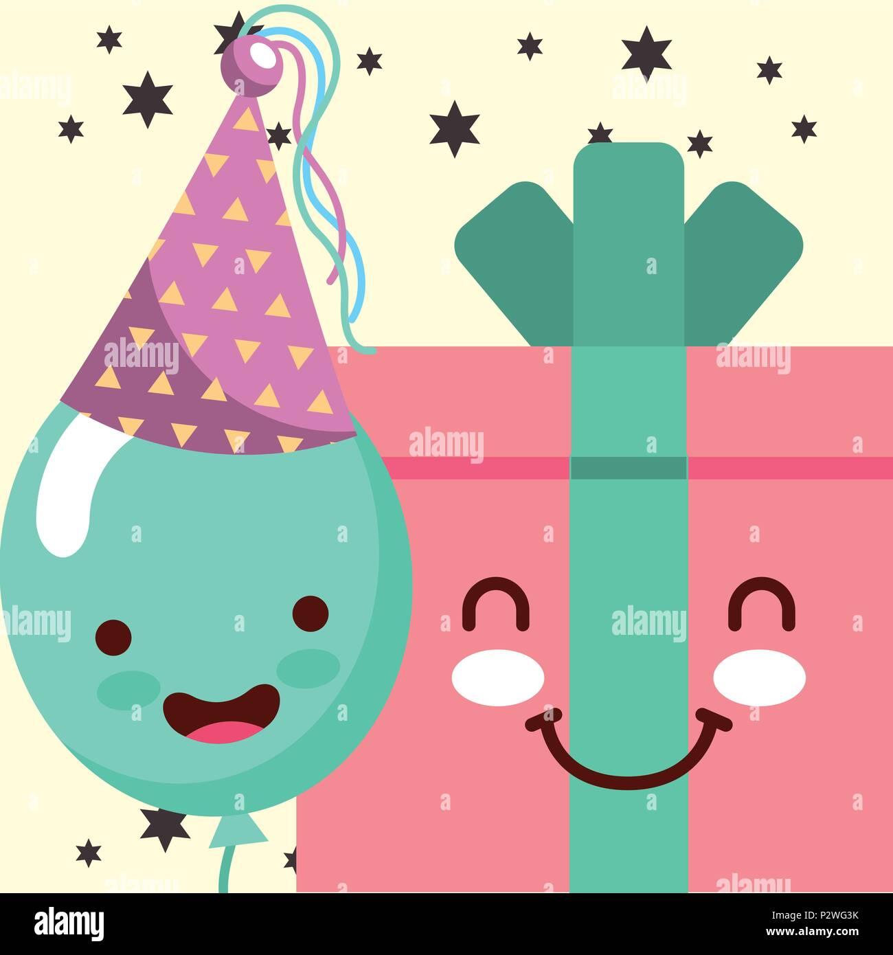 Boite Cadeau Kawaii Cartoon Et Sourire Balloon Hat Party Happy