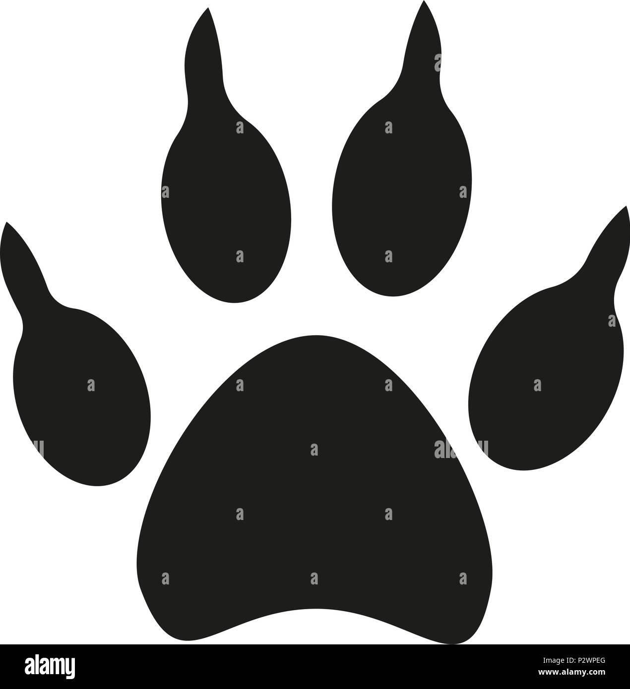 Chien Noir Et Blanc Silhouette Empreinte De Patte Vecteurs
