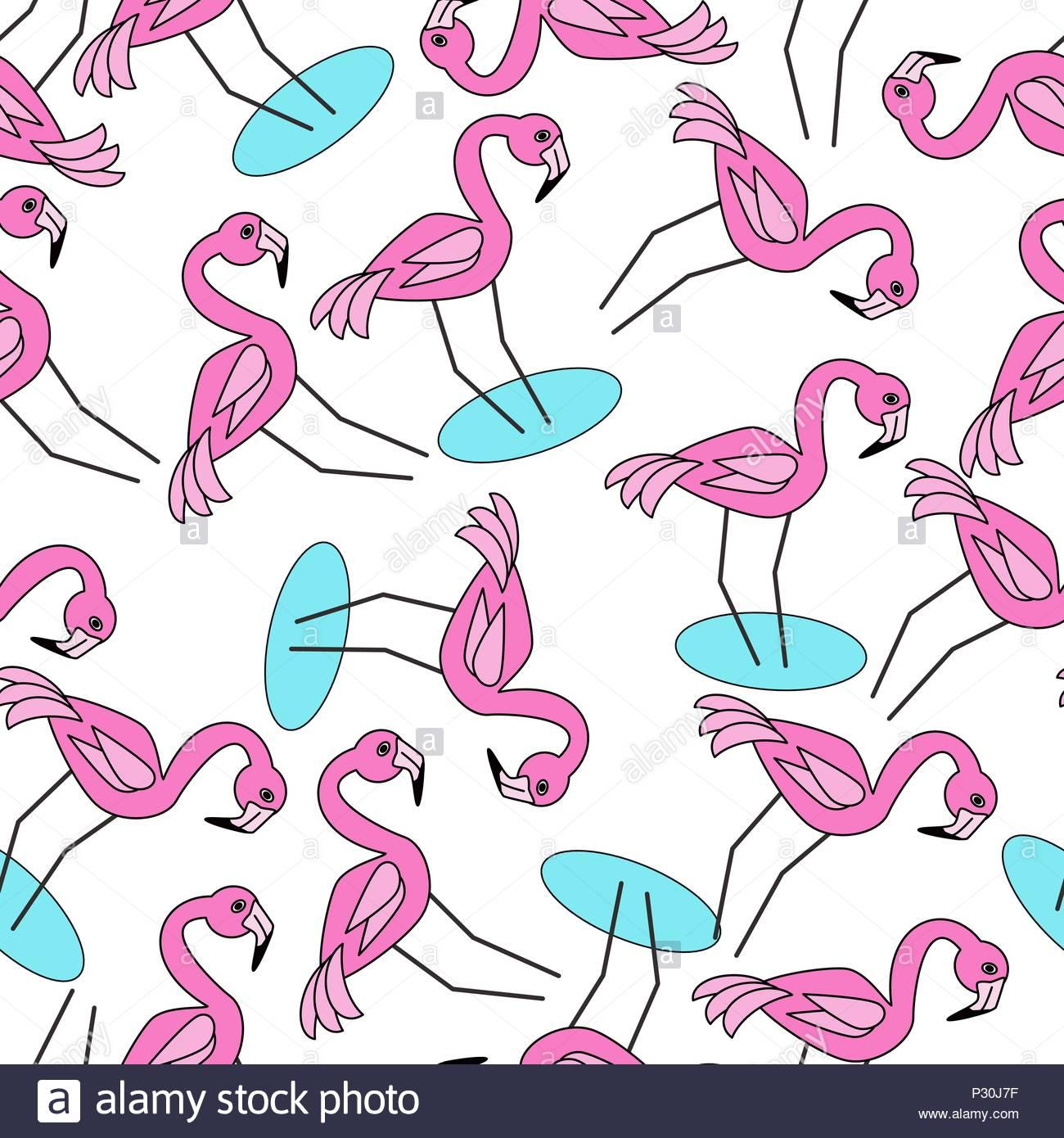 Dans l'eau modèle Flamingo sans couture Photo Stock