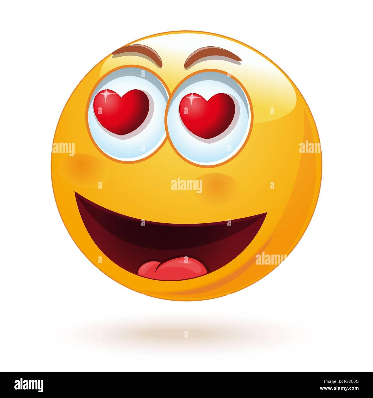 L Amour Heureux Smiley Avec Des Coeurs Dans Les Yeux Sentiment Amoureux Mignon Emoticone Isole Sur Fond Blanc Vector Illustration Image Vectorielle Stock Alamy