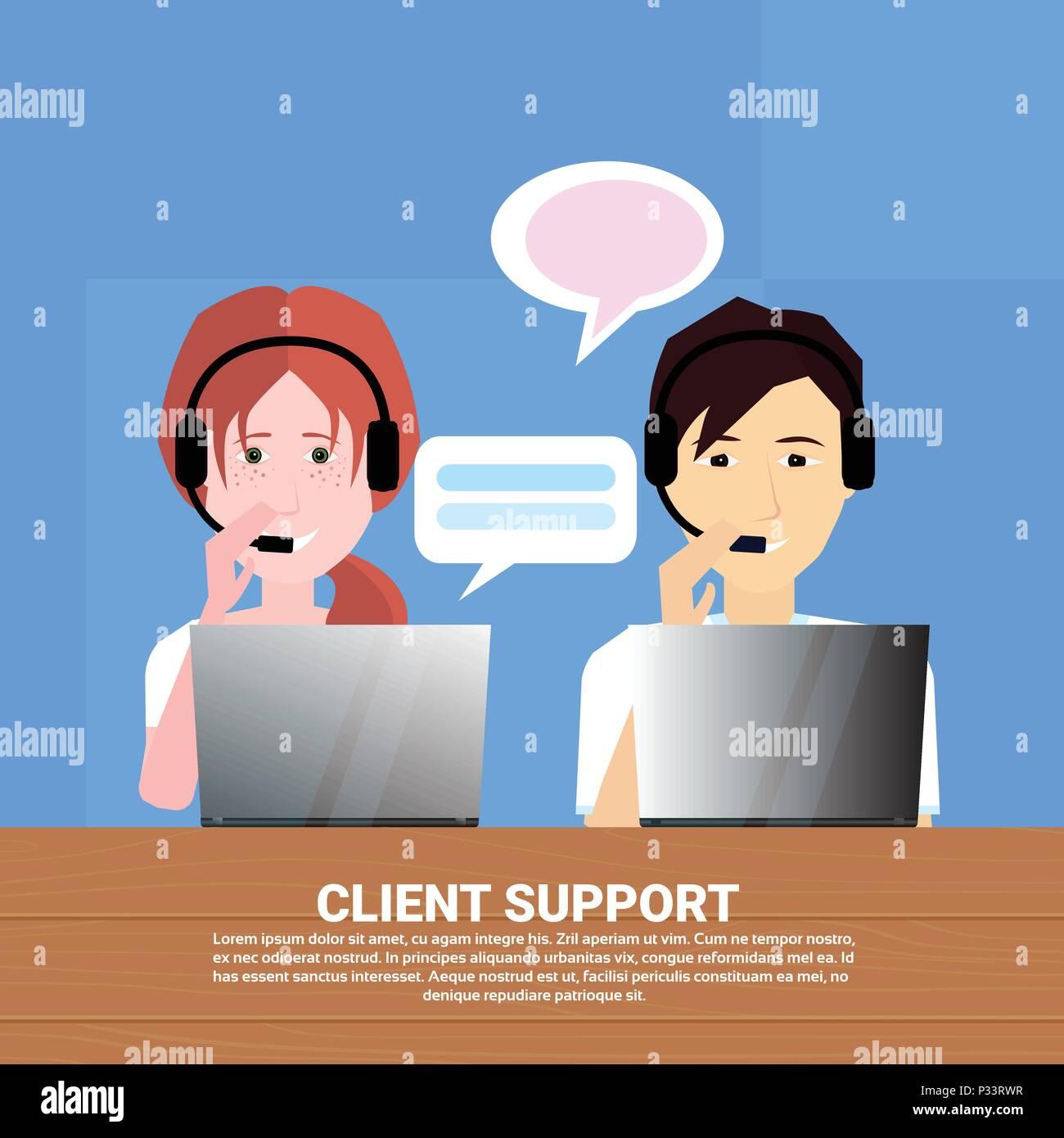 Divers casque agent client assistance en ligne opérateur, client et service  technique, l icône de chat concept, design plat espace copie ac46d5f7ce4e