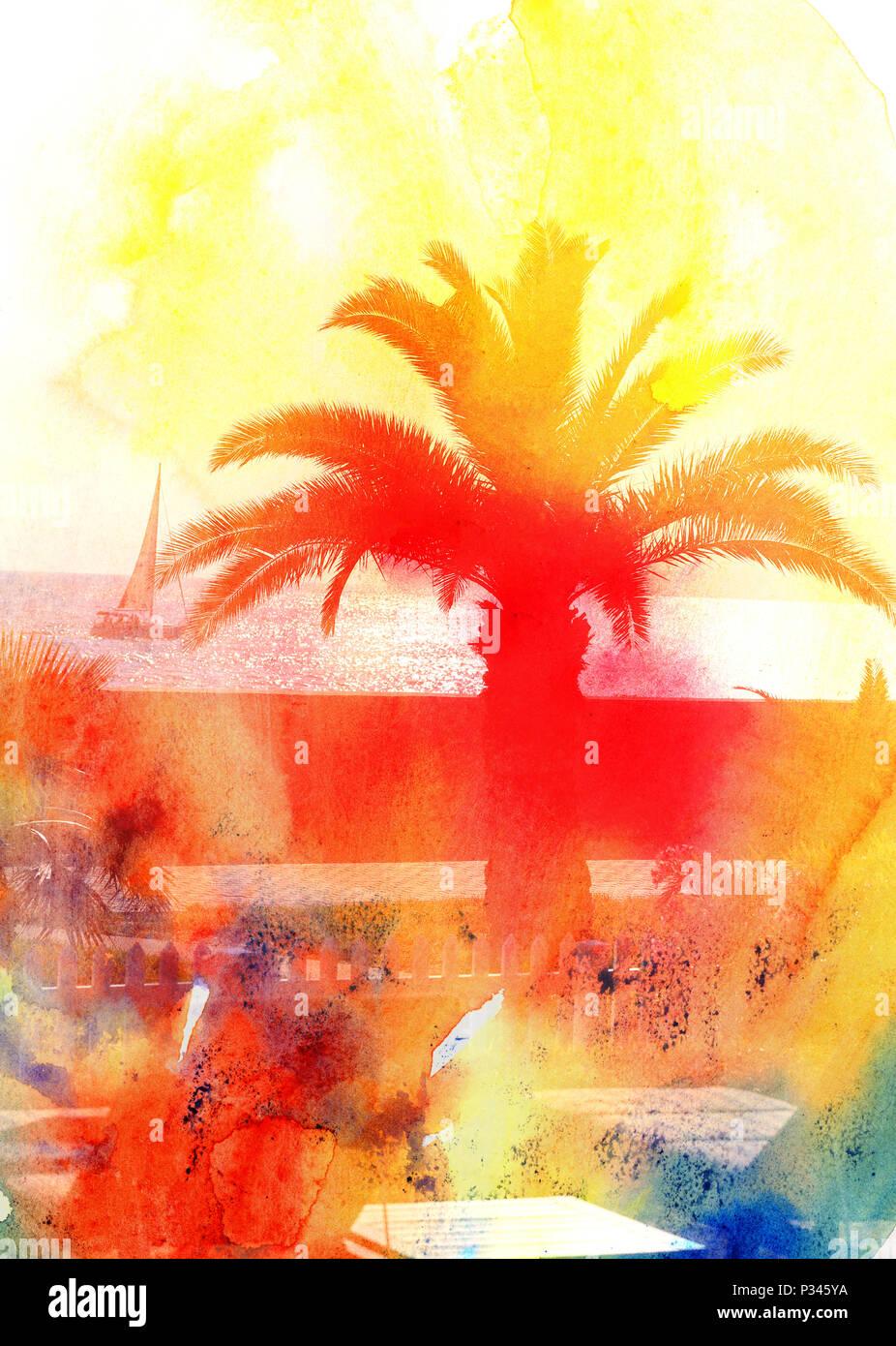 Arriere Plan Photo Retro Avec Palmiers Et Sunshine Paradise Island Modele De Conception Poster Carte Visite
