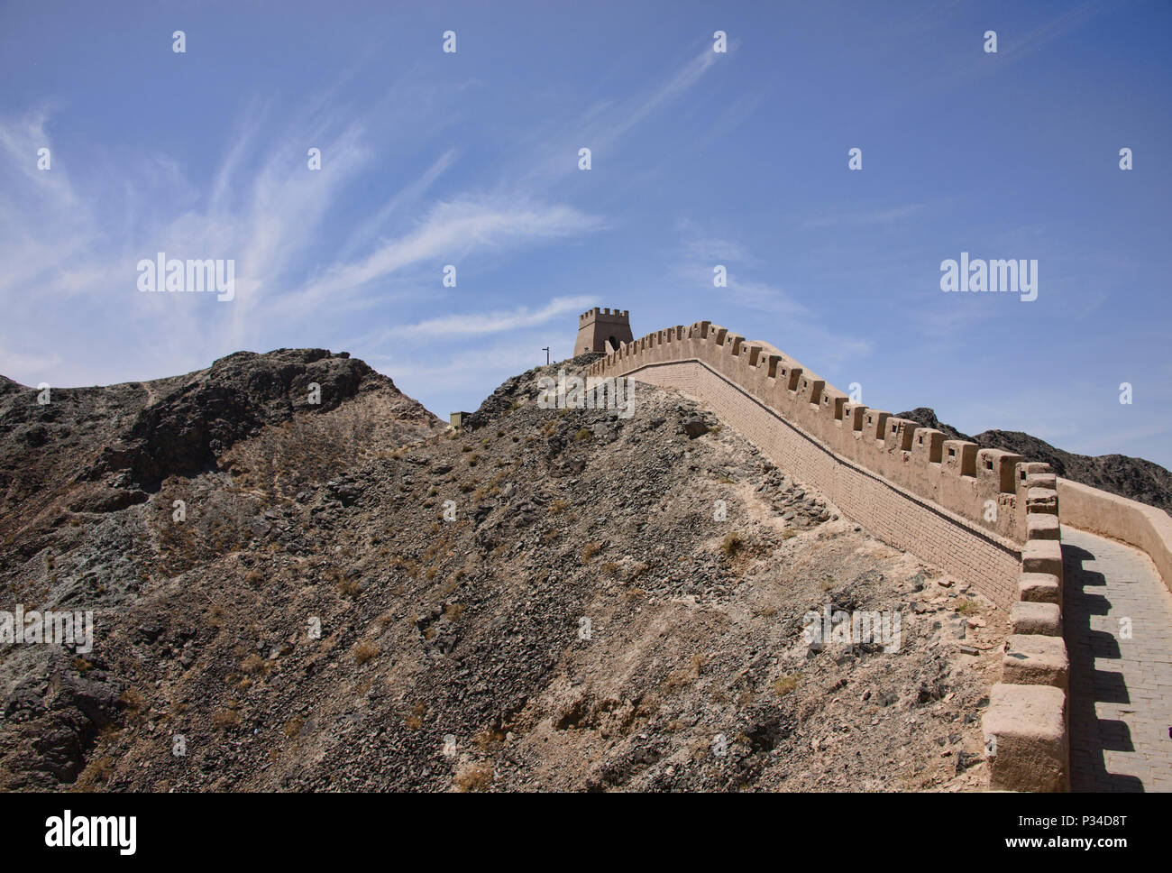 Surplombant la Grande Muraille, Jiayuguan, Gansu, Chine Photo Stock
