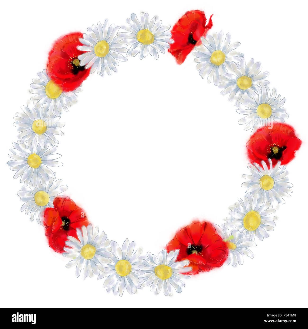 couronne de fleurs fond blanc