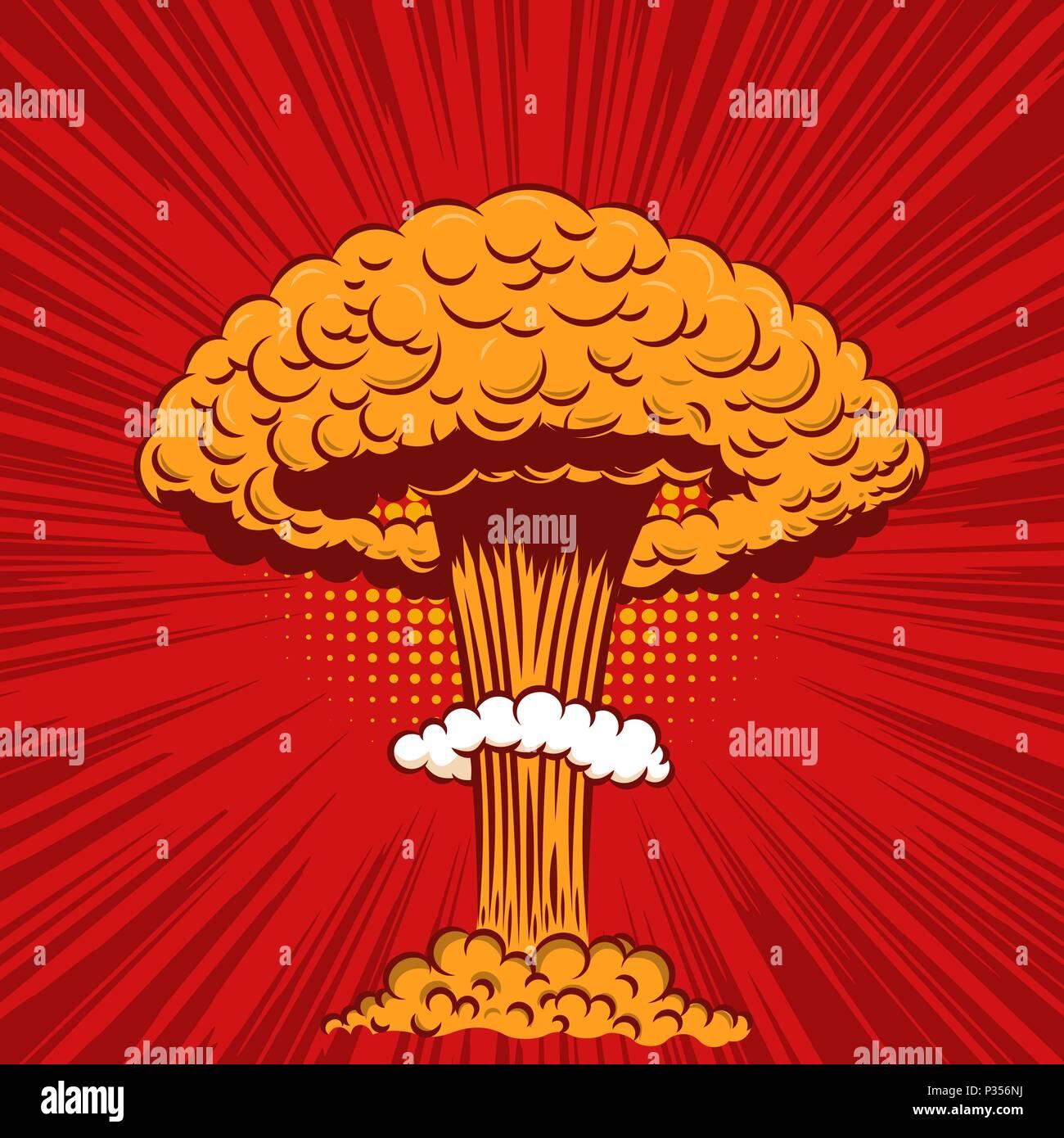 Le Style Comique Explosion Nucleaire Sur Fond De Pop Art Lelement Conception Pour Poster Carte Visite Banniere Flyer Vector Illustration