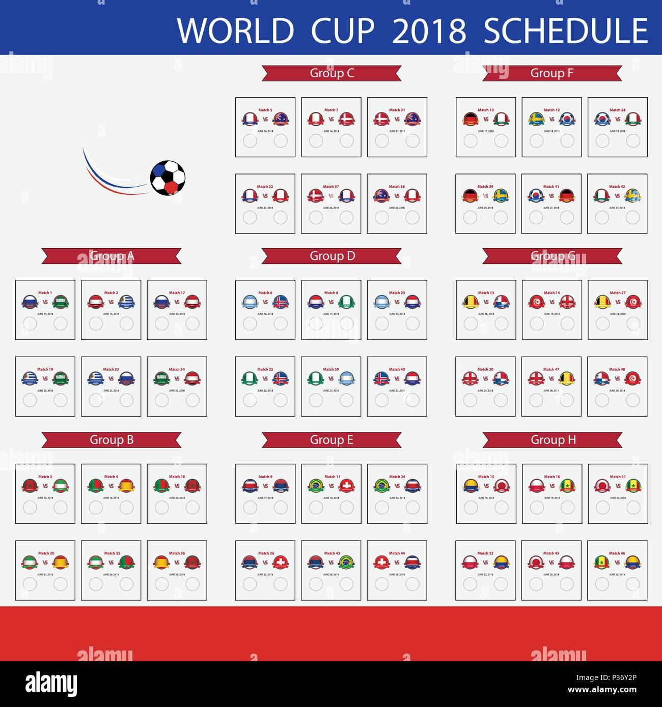 Calendrier Du Mondial.Coupe Du Monde De Football 2018 Calendrier Tournoi De