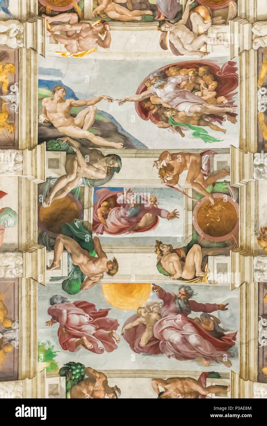 Rome Italie 29 Juin 2017 Plafond De La Chapelle Sixtine Scene