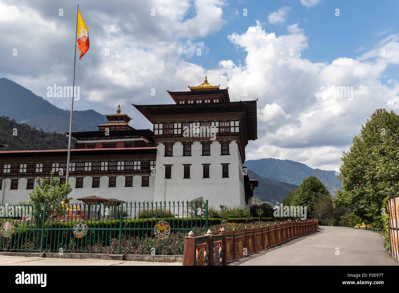 Le centre administratif du Bhoutan basée à Thimphu, également connu comme Tasshichho Dzong Photo Stock
