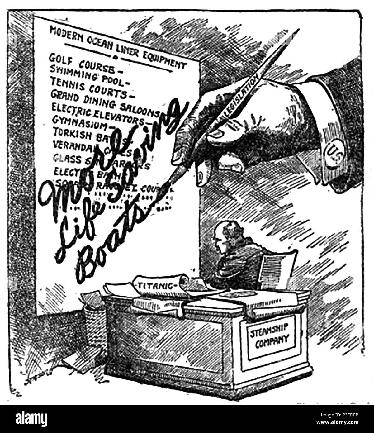 Naufrage Du Titanic 1912 Un Dessin Animé Satirique Commentant Que