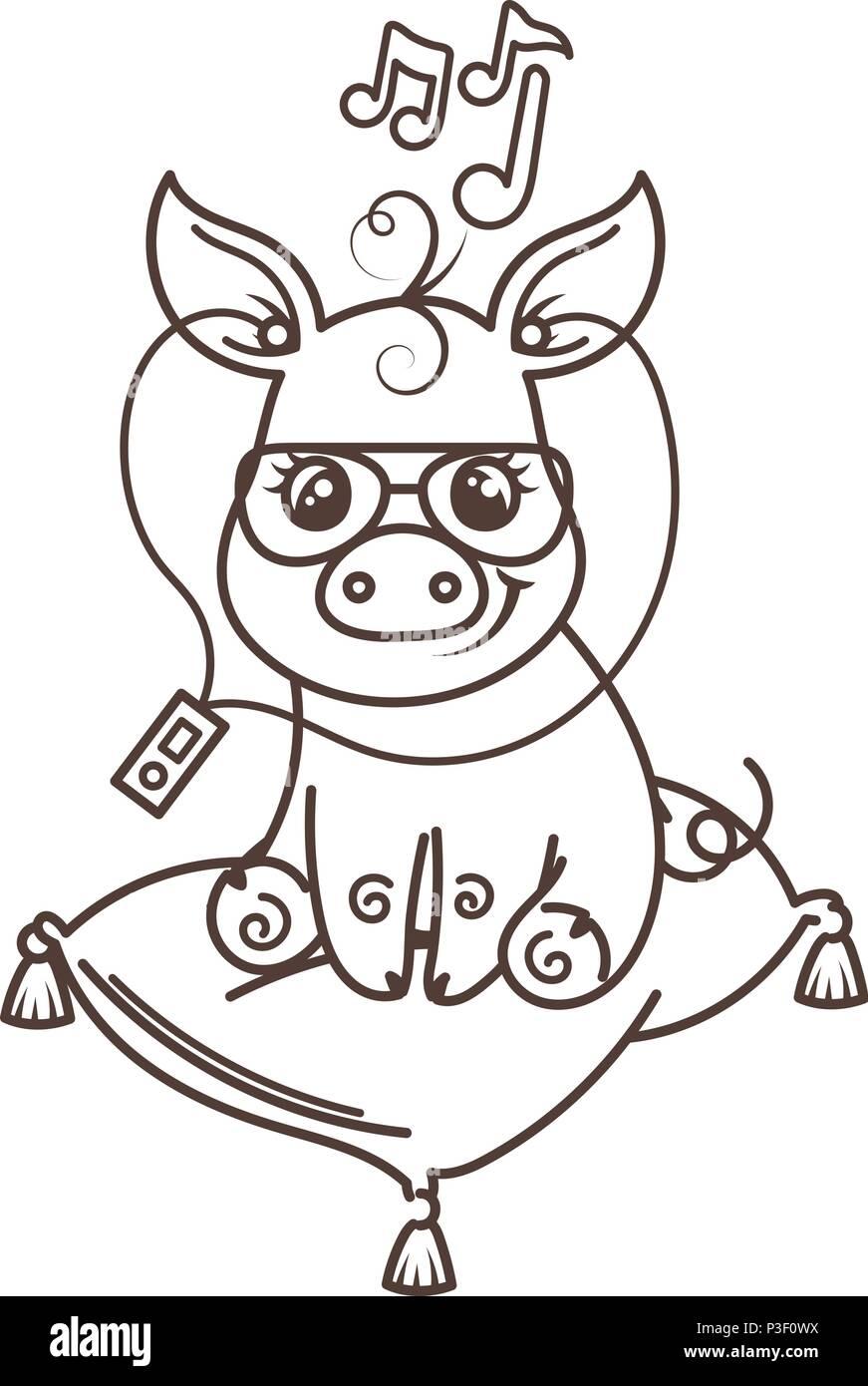 Cute Cartoon Bébé Cochon Dans Un Endroit Frais Et Lunettes