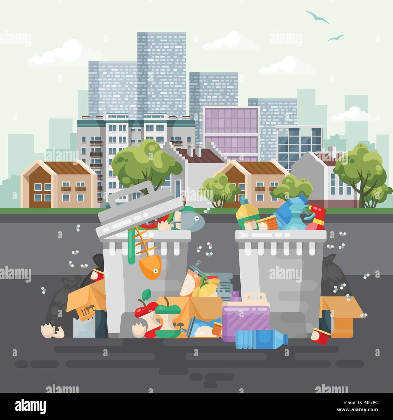Conteneurs à déchets vector illustration dans un style ...