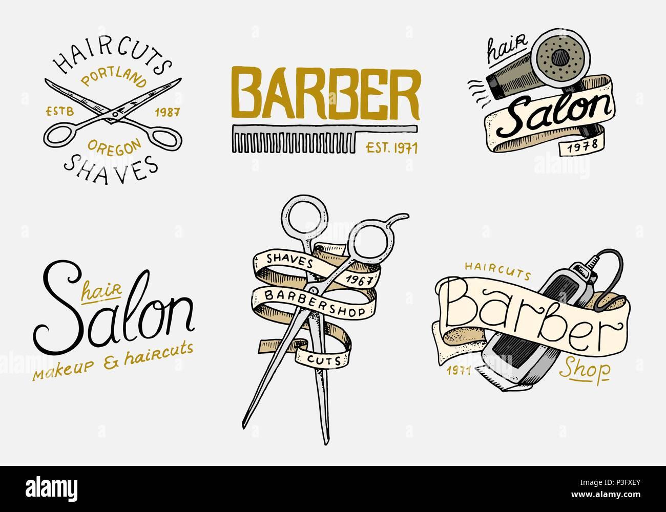 Jeu De Coiffure Pour Badge Et Etiquette Logo Et Emblemes Hipster Outils Pour L Icone De