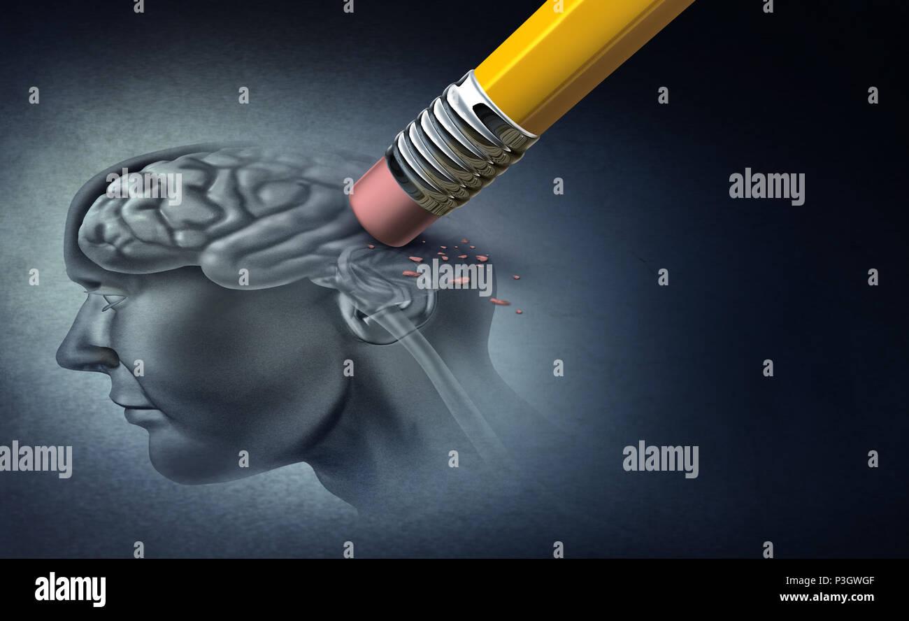 Notion de perte de mémoire et la maladie d'Alzheimer et la perte de la fonction cérébrale souvenirs comme un symbole de la santé alzheimer de neurologie et de problèmes mentaux avec 3D Photo Stock