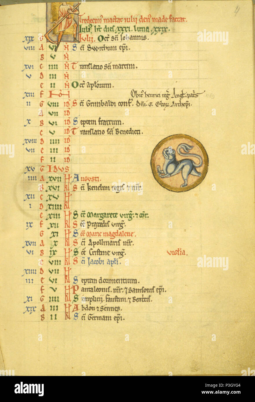 Saint Louis Calendrier.Anglais Saint Louis 4 Psautier Recto Anglais Manuscrit