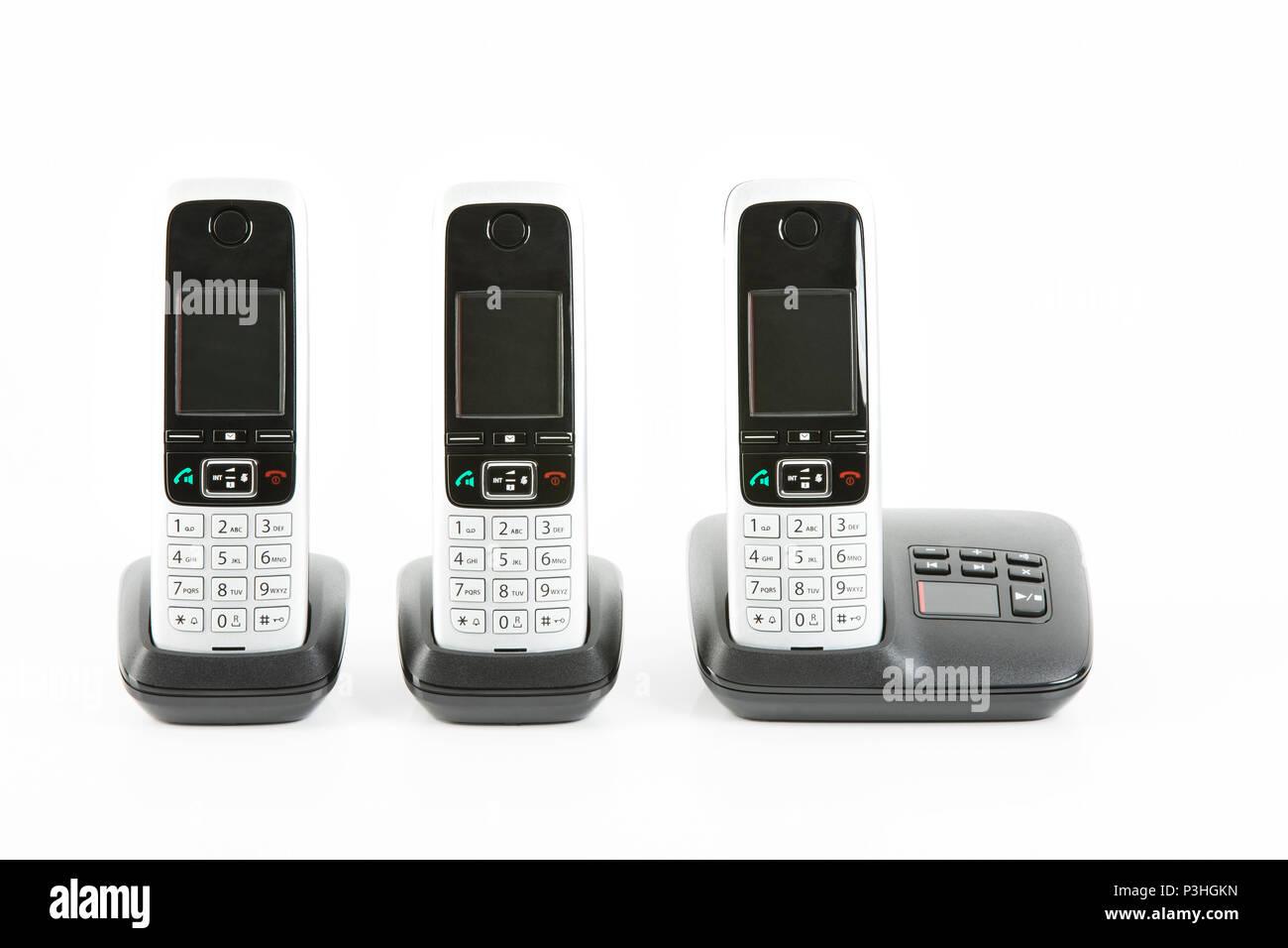 Telefonanlage, drahltlose Telefone Banque D'Images