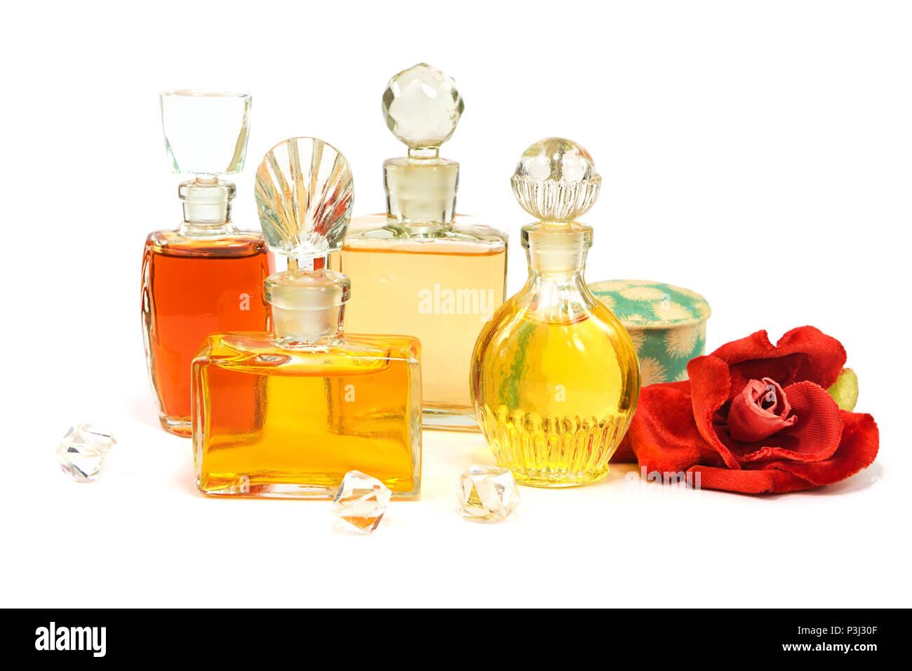 Flacons De Parfum Vintage Avec Les Bouchons En Verre Vieille Poudre