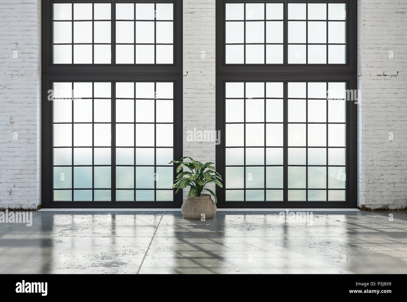 chambre loft vide intérieur avec grande baie vitrée et sol en pierre