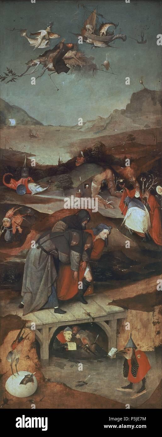 TRIPTICO DEL LATÉRALES DE LAS TENTACIONES DE SAN ANTONIO - VUELO Y CAIDA DE SAN ANTONIO - 1505-1506 - OLEO/TABLA - 131,5 x 53 cm. Auteur: Hieronymus Bosch (ch. 1450-1516). Emplacement: Museo de Arte Antiguo, LISBOA, PORTUGAL. Banque D'Images