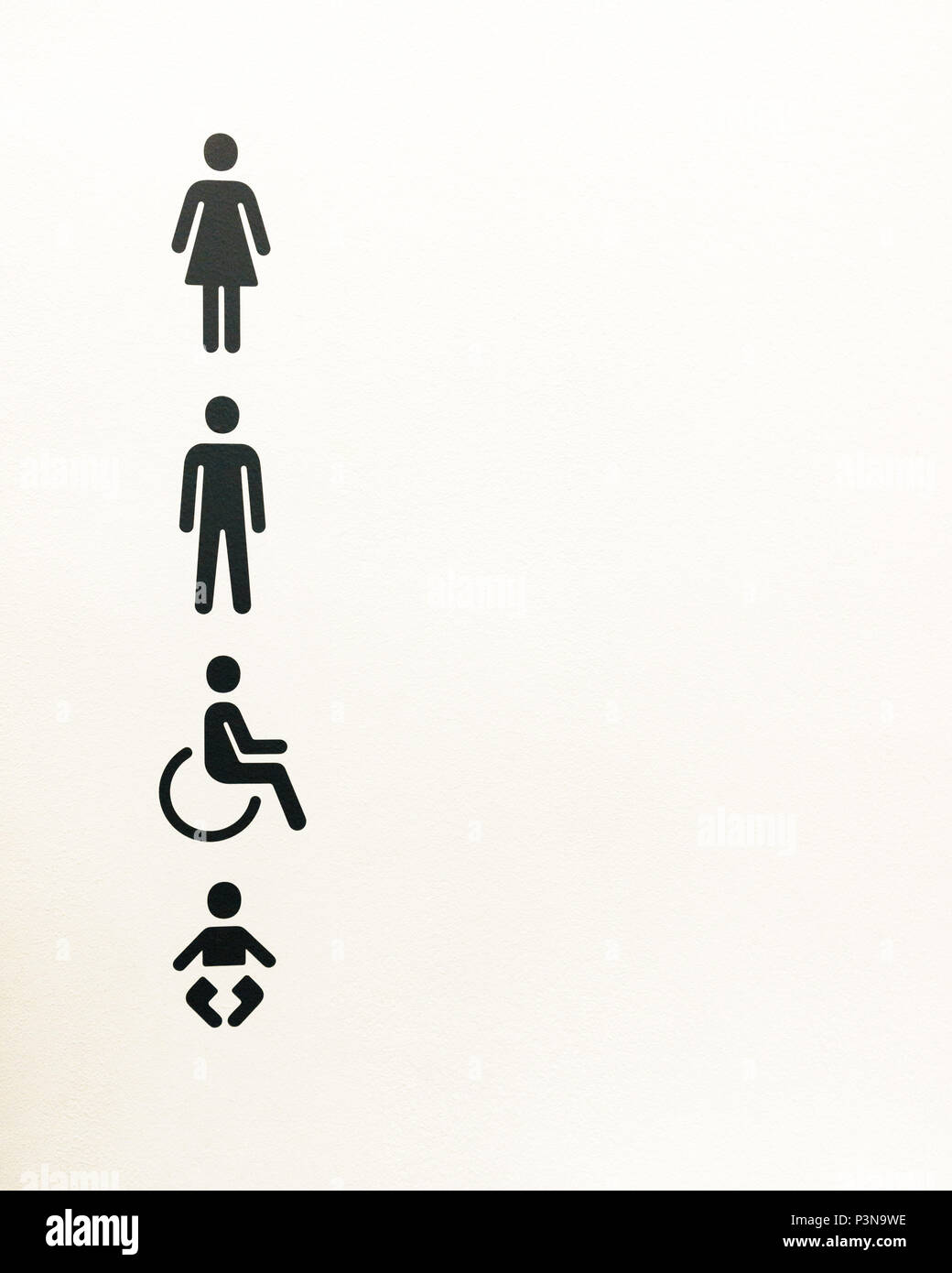 Femme ronde signe de porte toilettes