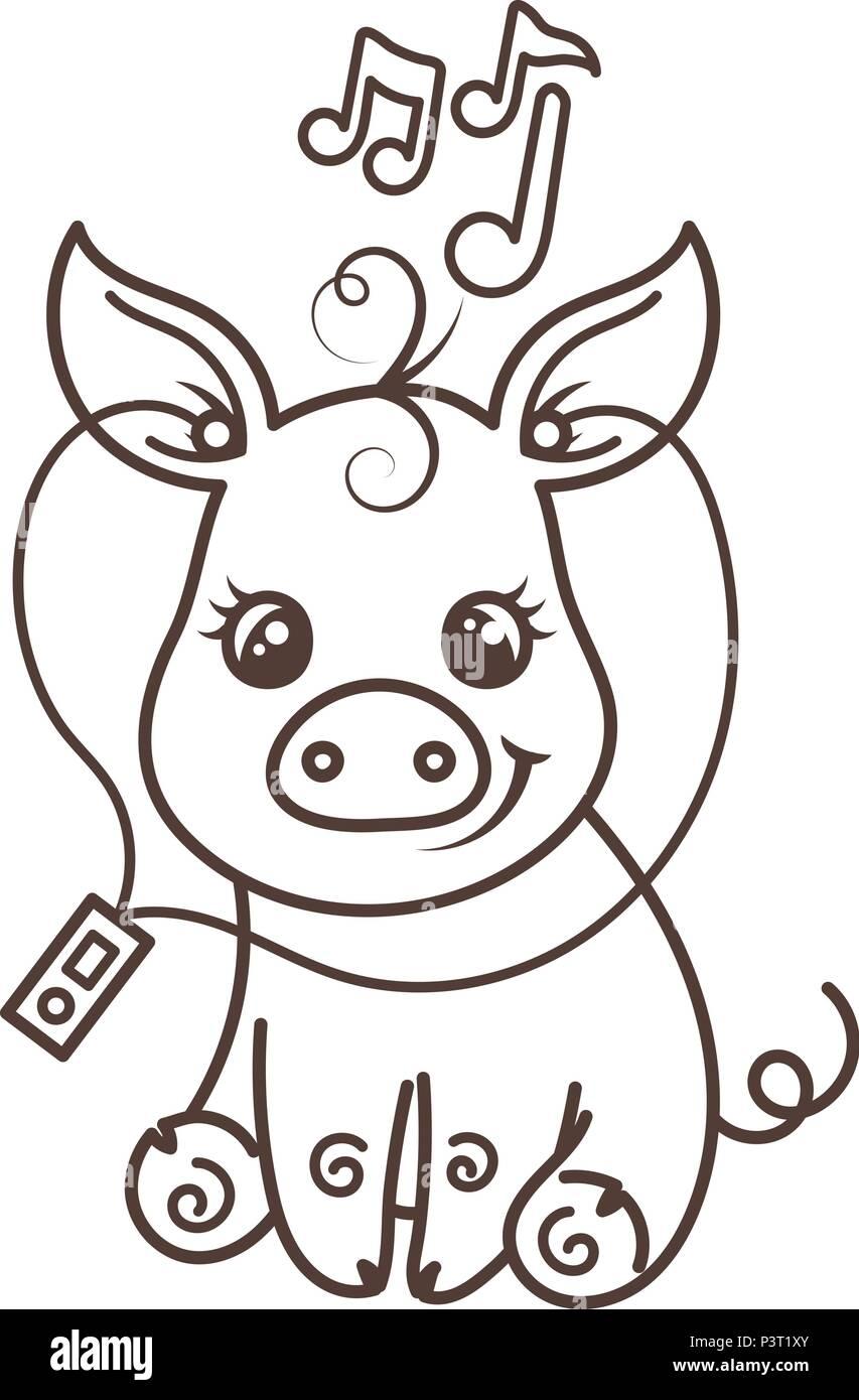 Cute Cartoon Bébé Cochon Illustration Vectorielle