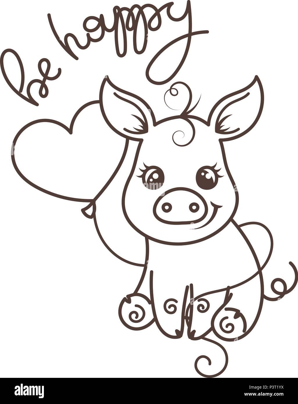 Coloriage Tete De Cochon.Cute Cartoon Bebe Cochon Illustration Vectorielle Coloriage